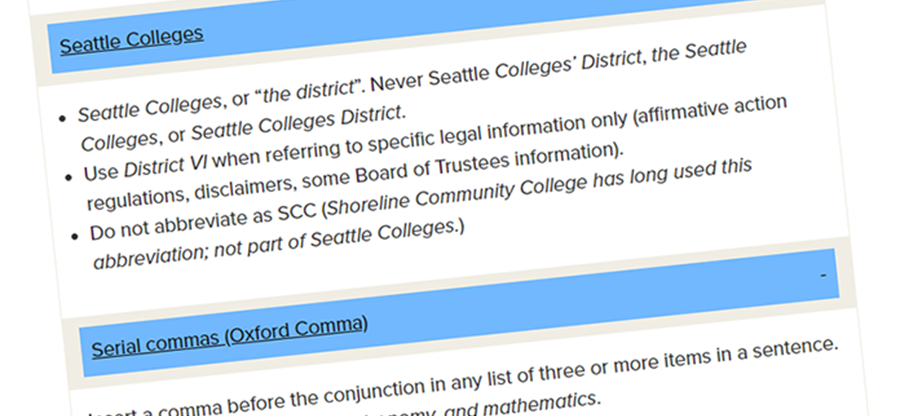 screen shot of Seattle Colleges editorial style guide online