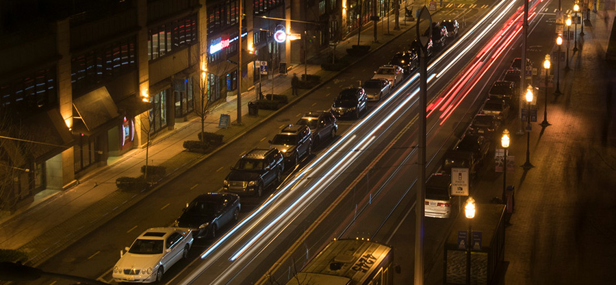 Seattle Central along Broadway with parked cars