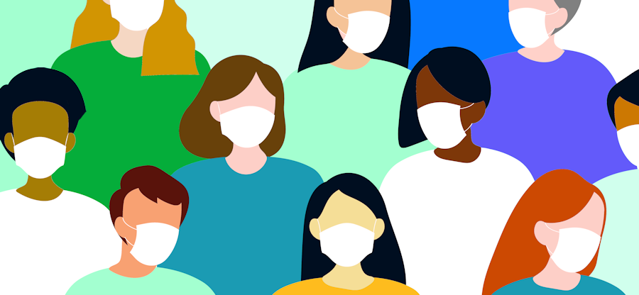 illustration of diverse group wearing face coverings