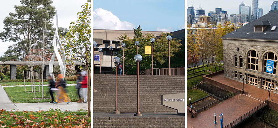 triptych image of our three college campuses