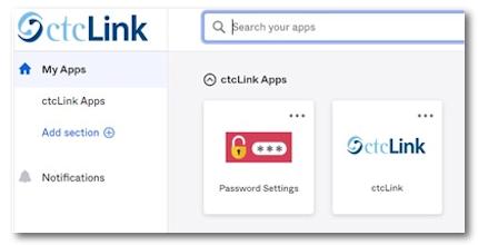 password and ctcLink tiles screen capture