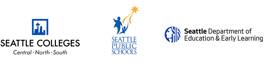 Partners logos, Seattle Colleges, Seattle Public Schools and City of Seattle