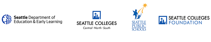 City of Seattle, Seattle Public Schools and Seattle Colleges logos - Seattle Promise partners